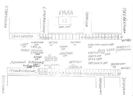 """Пресс-служба БЮТ обнародовала схему расположения  """"сторонников """" Черновецкого на сегодняшнем митинге под Киеврадой."""